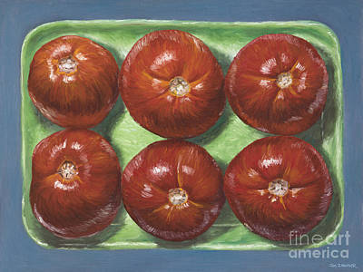 Tomatos Digital Art - Tomatoes In Green Tray by Jim Zahniser