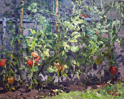 Tomatos Painting - Tomatoes In Viola's Garden  by Ylli Haruni