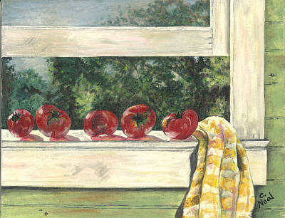 Painting - Tomatoes On The Sill by Carol Neal
