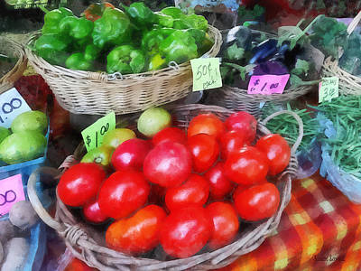 Tomatoes String Beans And Peppers At Farmer's Market Art Print by Susan Savad