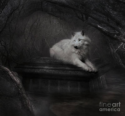 Digital Art - Tomb Of The Wolf - Grey by Lynn Jackson