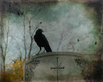 American Crow Photograph - Tombstone Crow by Gothicrow Images