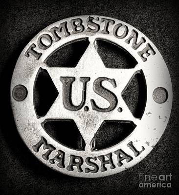 Tombstone - Us Marshal - Law Enforcement - Badge Art Print by Paul Ward
