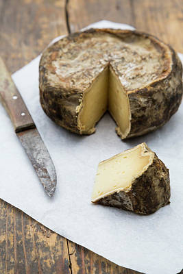 Tomme De Savoie Cheese And Knife On Art Print by Westend61