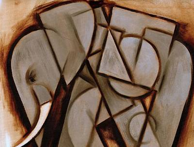 Abstract Art Painting - Tommervik Abstract Cubism Elephant Art Print by Tommervik