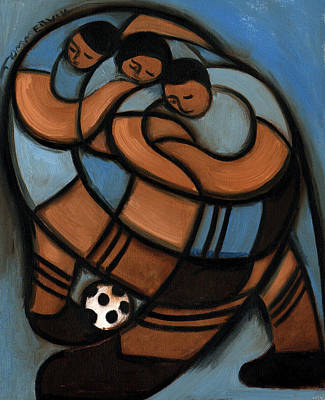 Painting - kids playing soccer Art Print by Tommervik