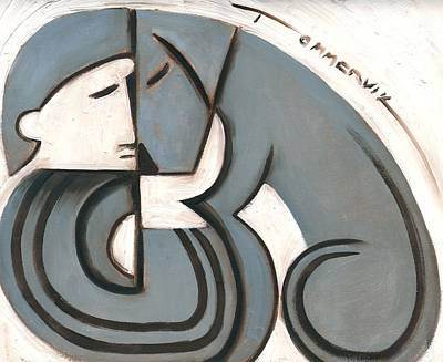 Painting -  Art Deco Man And Dog Art Print by Tommervik