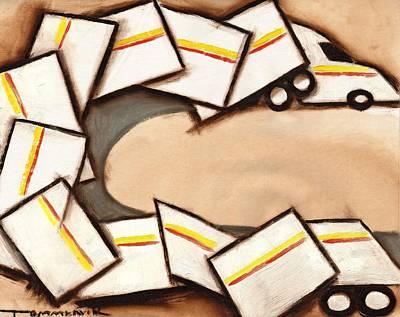 Semi Painting - Tommervik Cubism Semi Truck Art Print by Tommervik