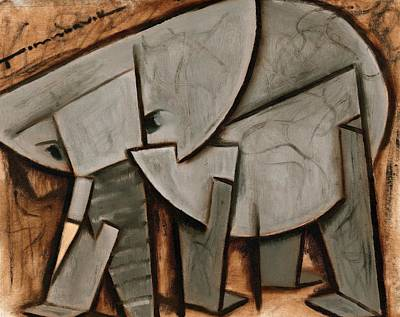 Painting -  Abstract Cubism Elephant Art Print by Tommervik