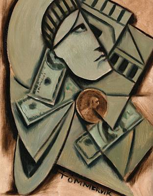 Painting -  Tommervik Cubism New York Statue Of Liberty Art Print by Tommrervik