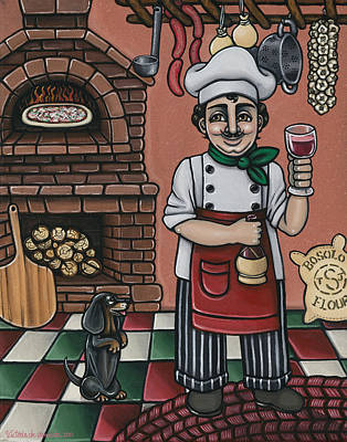 Red Wine Painting - Tommys Italian Kitchen by Victoria De Almeida
