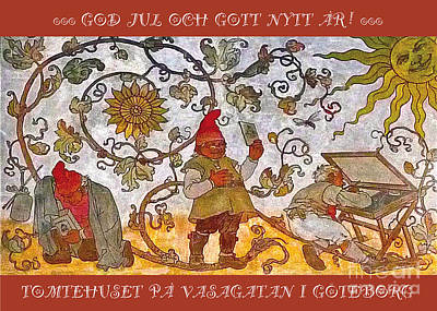 Mixed Media - Tomtehuset God Jul by Leif Sodergren