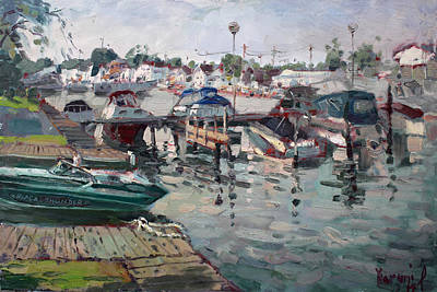 Yacht Club Painting - Tonawanda Island Launch Club  by Ylli Haruni