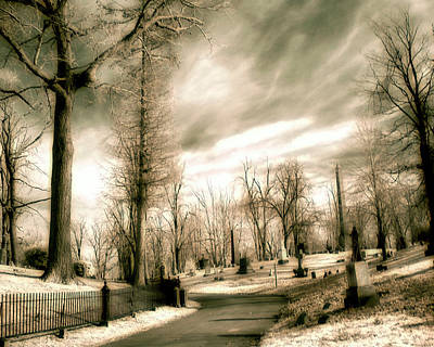 Graveyard Road Photograph - Toned Infrared Graveyard  by Gothicrow Images