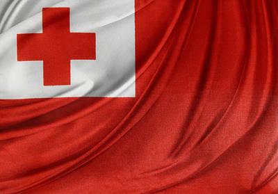 Tongan Photograph - Tongan Flag by Les Cunliffe