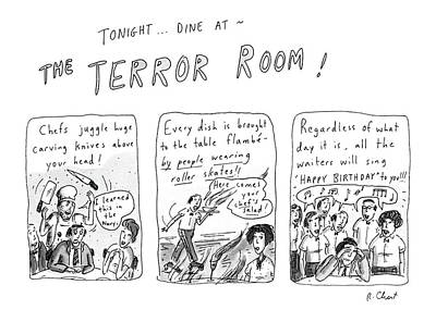 Juggling Drawing - Tonight... Dine At The Terror Room by Roz Chast