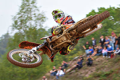 Mud Photograph - Tony Cairoli Whip Look - Maggiora Mx Opening by Stefano Minella