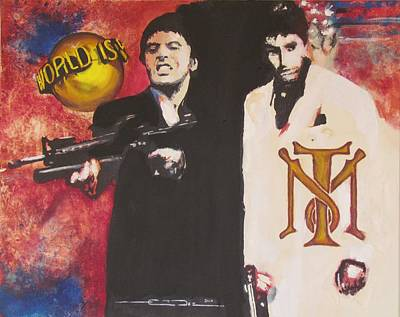 Tribute Drawing - Tony Montana And Friend by Eric Dee