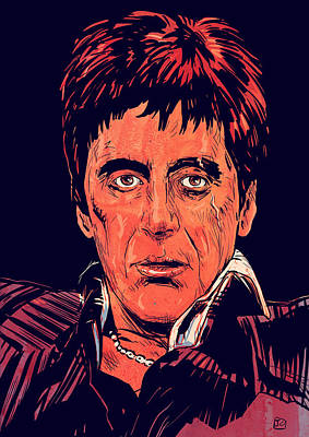 80s Drawing - Tony Montana by Giuseppe Cristiano