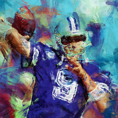 Tony Romo Abstract 3 Art Print by David G Paul