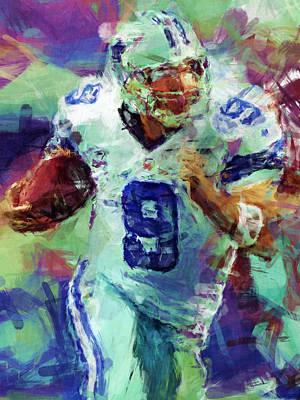 Tony Romo Abstract 4 Art Print by David G Paul