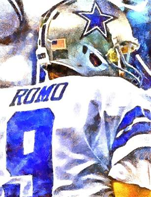 Digital Art - Tony Romo by Carrie OBrien Sibley