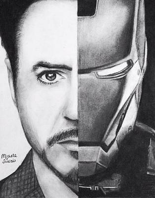 Iron Man Drawing - Tony Stark/ Iron Man by Michelle Szalai