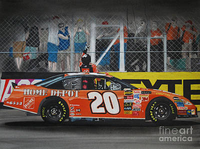 Fence Drawing - Tony Stewart Climbs For The Checkered Flag by Paul Kuras
