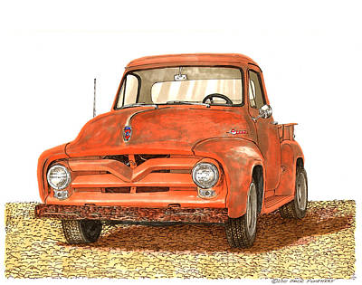 Painting - Tonys 1955 Ford F-100 Pick Up by Jack Pumphrey