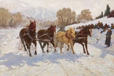 Colorado Ski Painting - Too Close To Call by Chula Beauregard