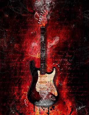 Fender Strat Digital Art - Too Hot To Handle by Gary Bodnar