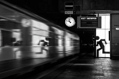 Railroad Station Photograph - Too Late by Hilde Ghesquiere