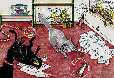 Drawing - Too Many Pets by Shawna Rowe