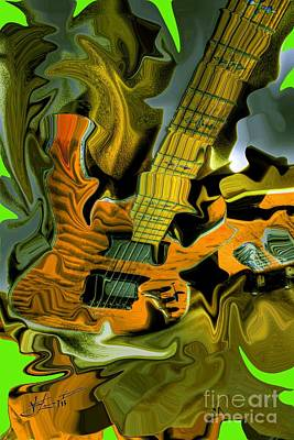 Too Much Vibrations Digital Guitar Art By Steven Langston Art Print by Steven Lebron Langston