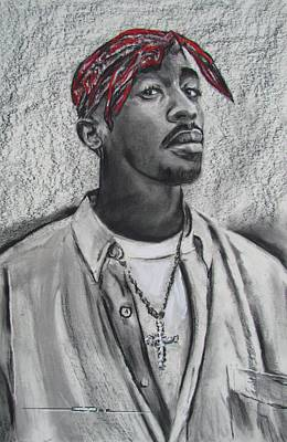 Drawing - Too Soon Tupac by Eric Dee