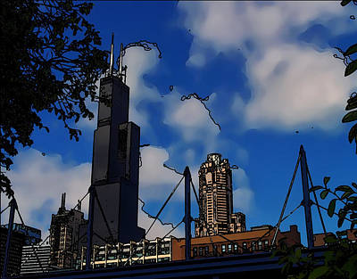 Digital Art - Toon Chicago by Chris Flees