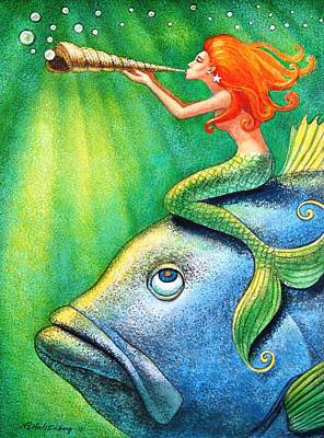 Pop Surrealism Painting - Toot Your Own Seashell Mermaid by Sue Halstenberg