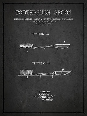 Shark Art - Toothbrush Spoon patent from 1936 - Dark by Aged Pixel