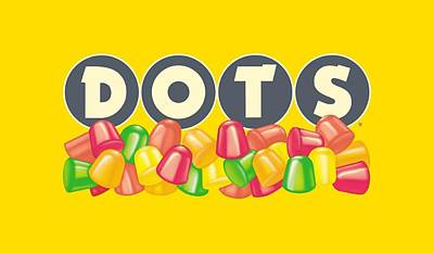 Candy Digital Art - Tootsie Roll - Dots Logo by Brand A