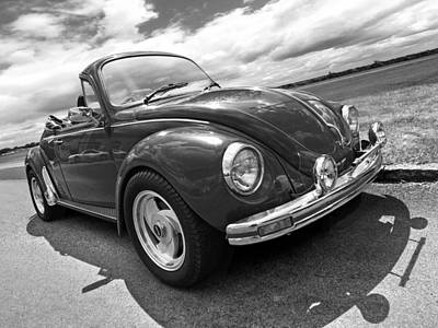 Beetle Car Interior Photograph - Top Down Cruising - Vw Bug Black And White by Gill Billington