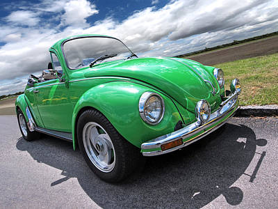 Beetle Car Interior Photograph - Top Down Cruising - Vw Bug by Gill Billington
