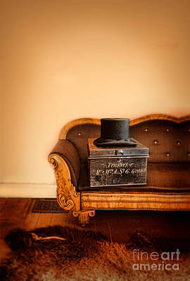 Photograph - Top Hat And Box On Vintage Sofa by Jill Battaglia