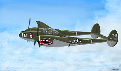 Digital Art - Top Hatted Skull P-38 Lightning by Walter Colvin