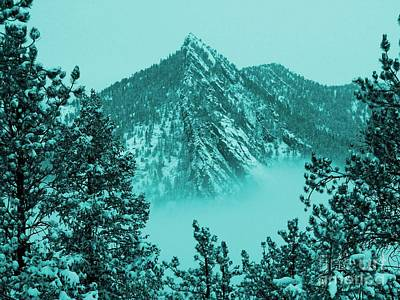 Top Of Bear Peak Mountain In Blue Hue Above The Fog Original