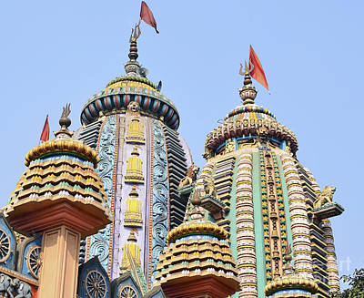 Flag Photograph - Top Of Hindu Temple by Image World