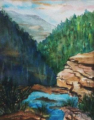 Cloves Painting - Top Of The Falls- Kaaterskill Clove by Ellen Levinson
