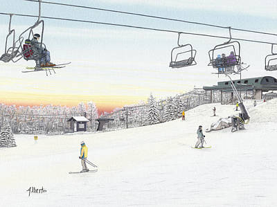 Ski Resort Painting - Top Of The Mountain At Seven Springs by Albert Puskaric