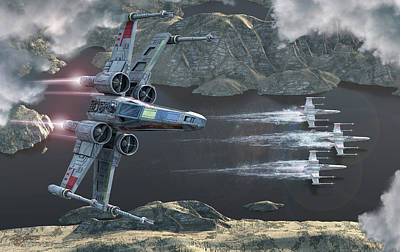 Science Fiction Royalty-Free and Rights-Managed Images - Top View Of A Group Of X-wings Flying by Kurt Miller