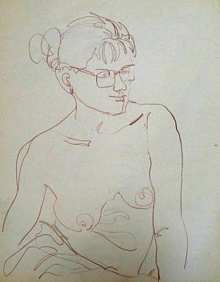 Topless Drawing - Topless Gal Wearing  Glasses by Joan  Jones