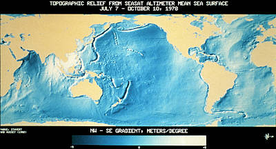 Topography Wall Art - Photograph - Topographic Relief Map Of World's Ocean Surface by Nasa/science Photo Library